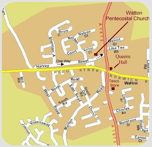 Map of Watton showing the church, remember the one way street